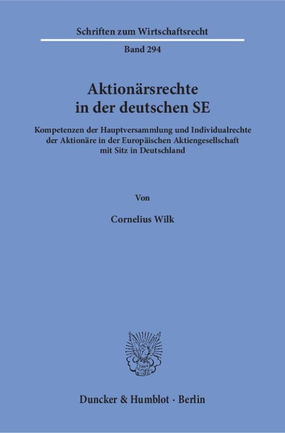 Cover Aktionärsrechte in der deutschen SE