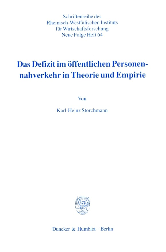 Cover Das Defizit im öffentlichen Personennahverkehr in Theorie und Empirie