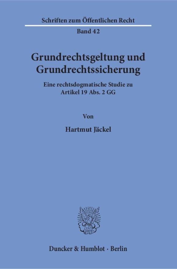 Cover Grundrechtsgeltung und Grundrechtssicherung