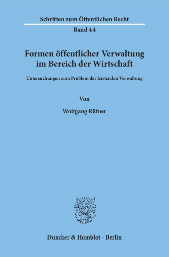 Cover Formen öffentlicher Verwaltung im Bereich der Wirtschaft