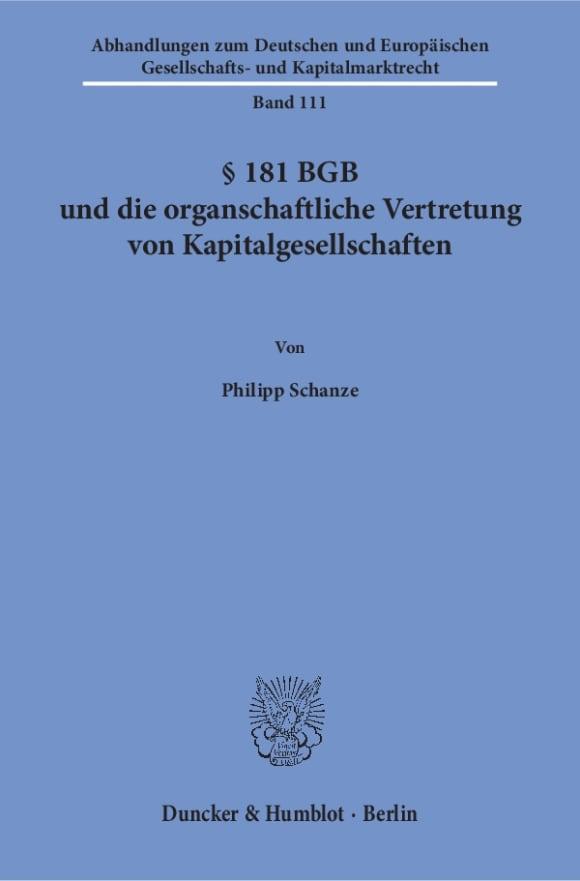 Cover § 181 BGB und die organschaftliche Vertretung von Kapitalgesellschaften