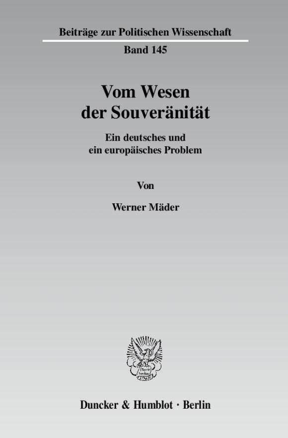 Cover Vom Wesen der Souveränität