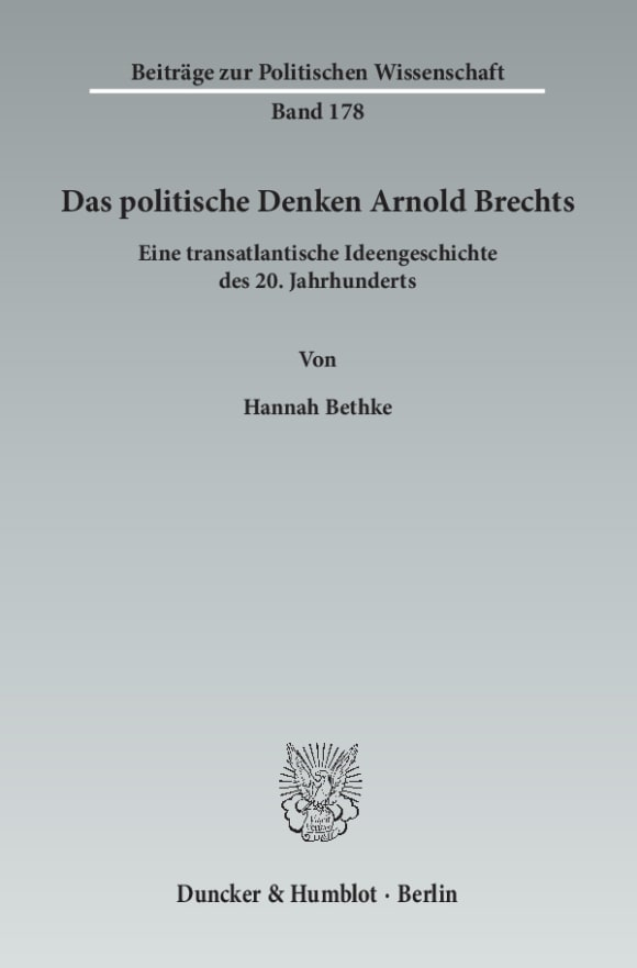 Cover Das politische Denken Arnold Brechts