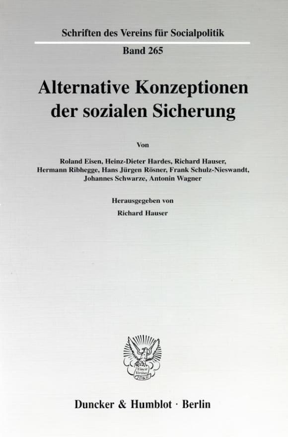 Cover Alternative Konzeptionen der sozialen Sicherung