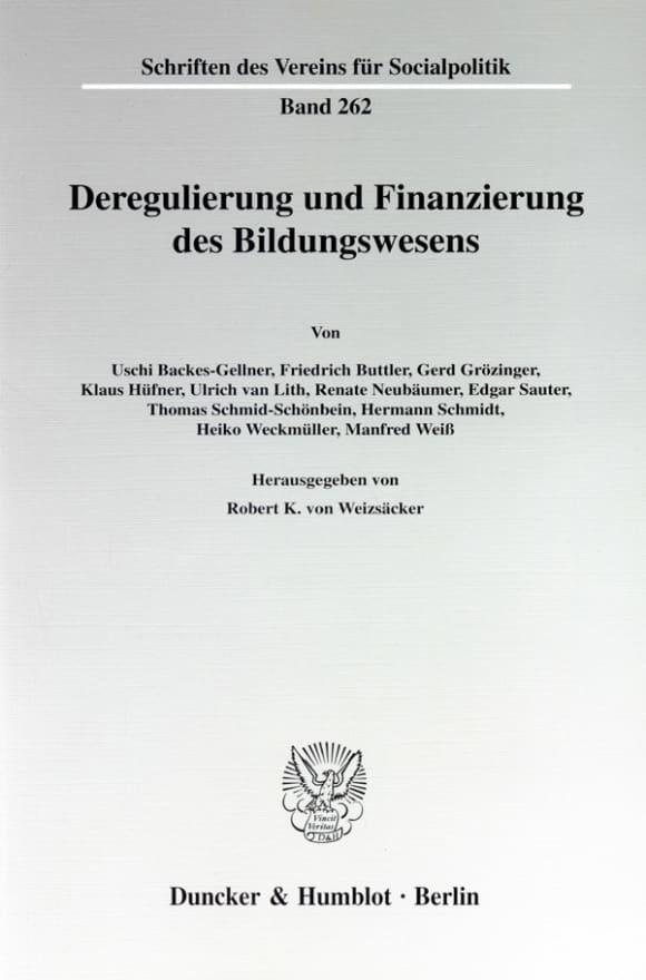 Cover Deregulierung und Finanzierung des Bildungswesens