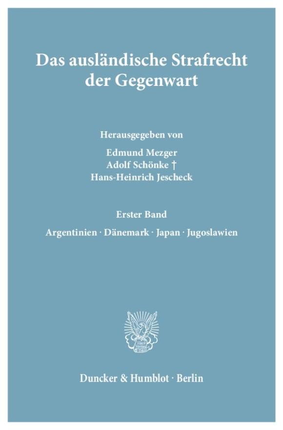 Cover Das ausländische Strafrecht der Gegenwart