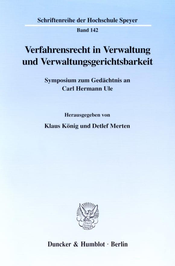 Cover Verfahrensrecht in Verwaltung und Verwaltungsgerichtsbarkeit