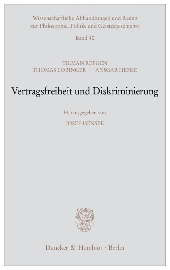 Cover Vertragsfreiheit und Diskriminierung