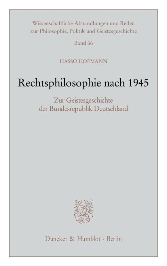 Cover Rechtsphilosophie nach 1945