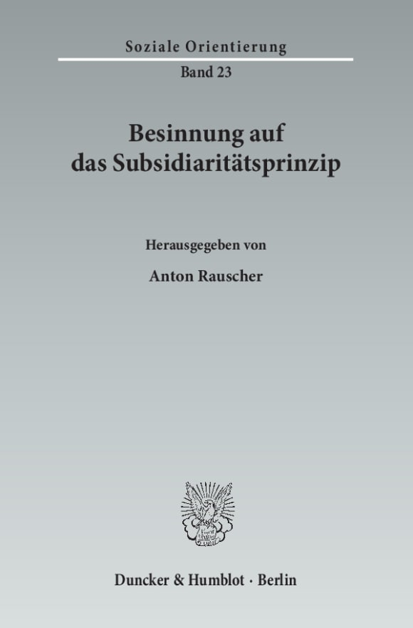 Cover Besinnung auf das Subsidiaritätsprinzip