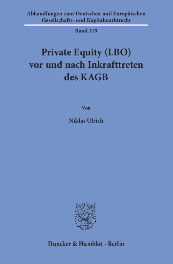 Cover Private Equity (LBO) vor und nach Inkrafttreten des KAGB