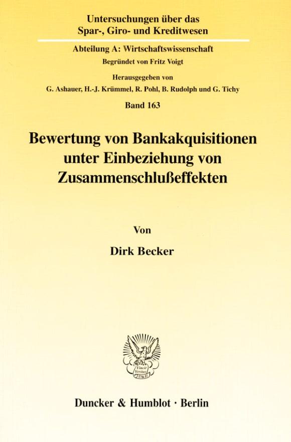 Cover Bewertung von Bankakquisitionen unter Einbeziehung von Zusammenschlußeffekten