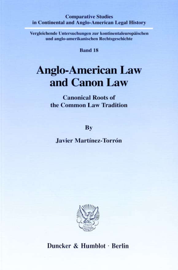 Cover Anglo-American Law and Canon Law