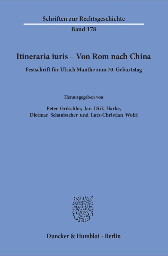 Cover Itineraria iuris – Von Rom nach China