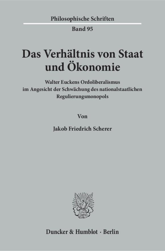 Cover Das Verhältnis von Staat und Ökonomie