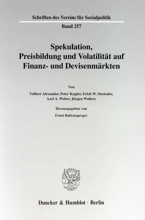 Cover Spekulation, Preisbildung und Volatilität auf Finanz- und Devisenmärkten