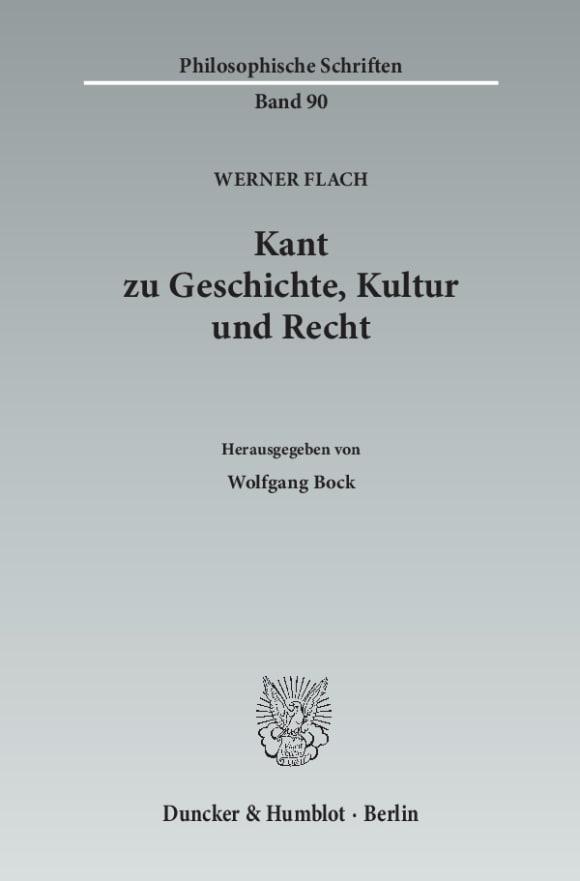 Cover Kant zu Geschichte, Kultur und Recht