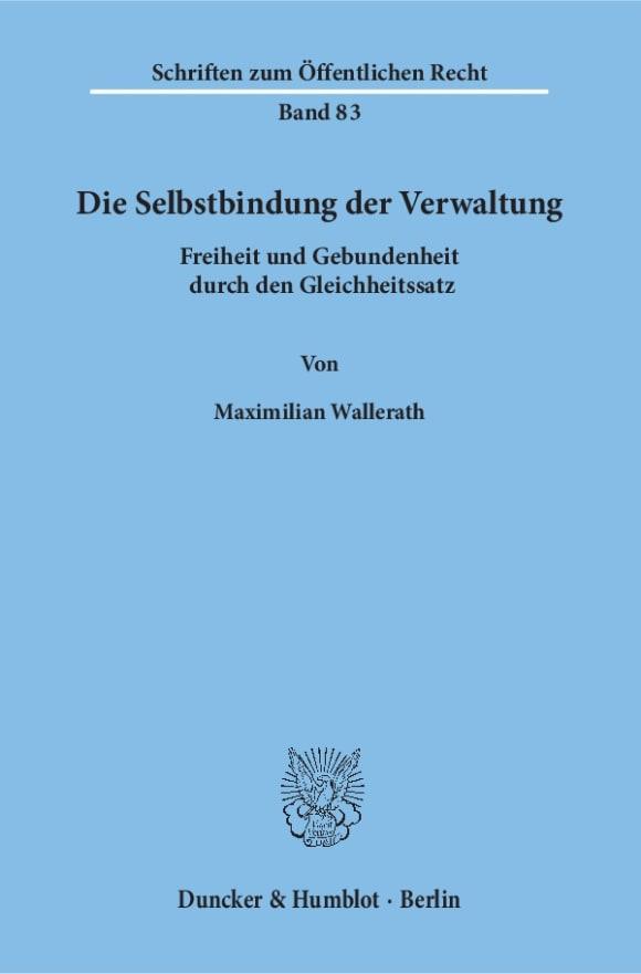 Cover Die Selbstbindung der Verwaltung