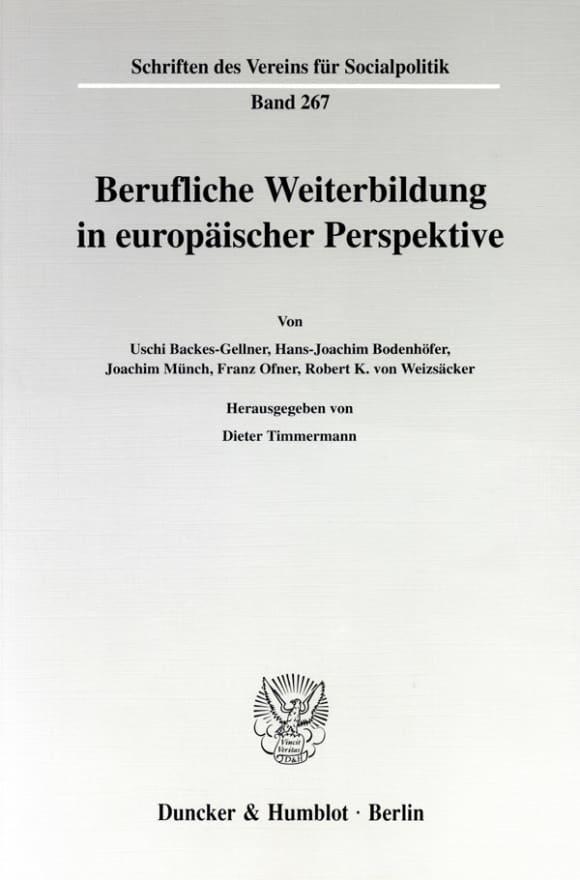 Cover Berufliche Weiterbildung in europäischer Perspektive