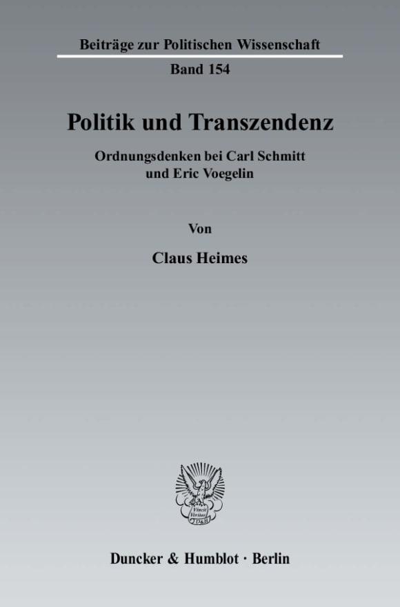 Cover Politik und Transzendenz