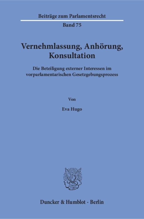Cover Vernehmlassung, Anhörung, Konsultation