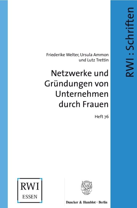 Cover Netzwerke und Gründungen von Unternehmen durch Frauen