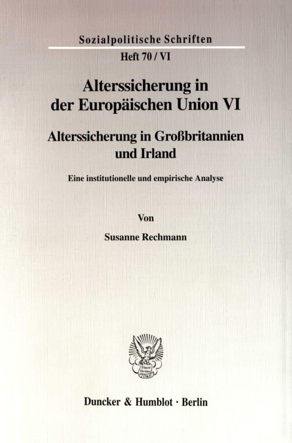 Cover Alterssicherung in der Europäischen Union VI