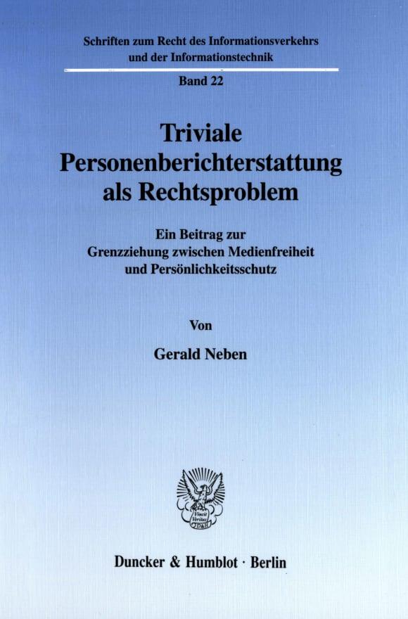 Cover Schriften zum Recht des Informationsverkehrs und der Informationstechnik (RIVT)