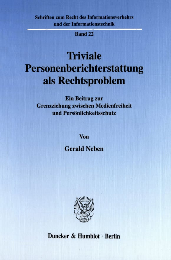 Cover Triviale Personenberichterstattung als Rechtsproblem