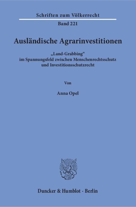 Cover Ausländische Agrarinvestitionen