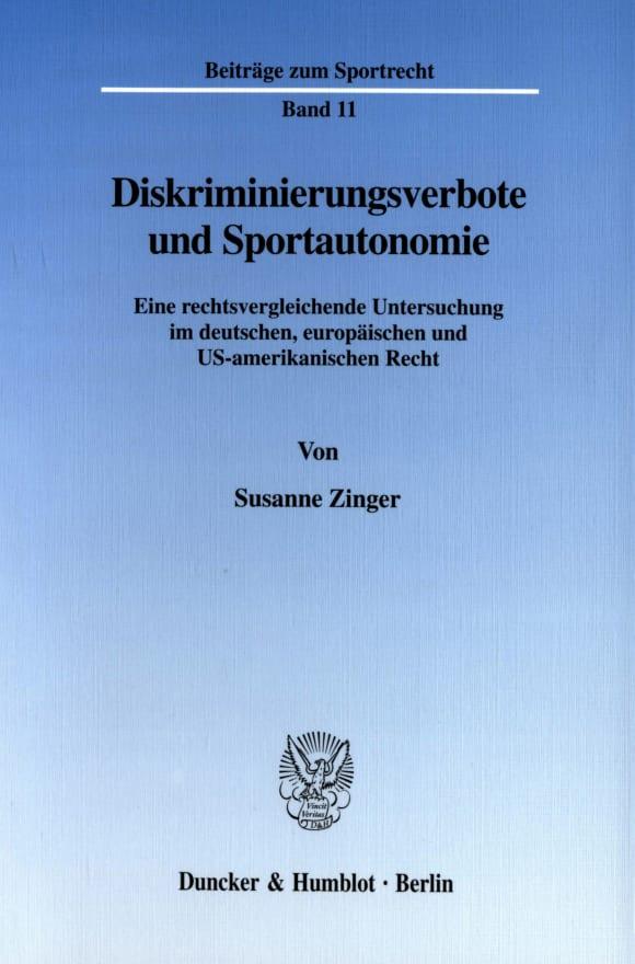Cover Diskriminierungsverbote und Sportautonomie
