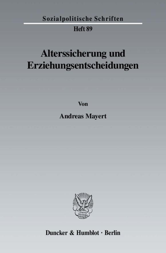 Cover Alterssicherung und Erziehungsentscheidungen