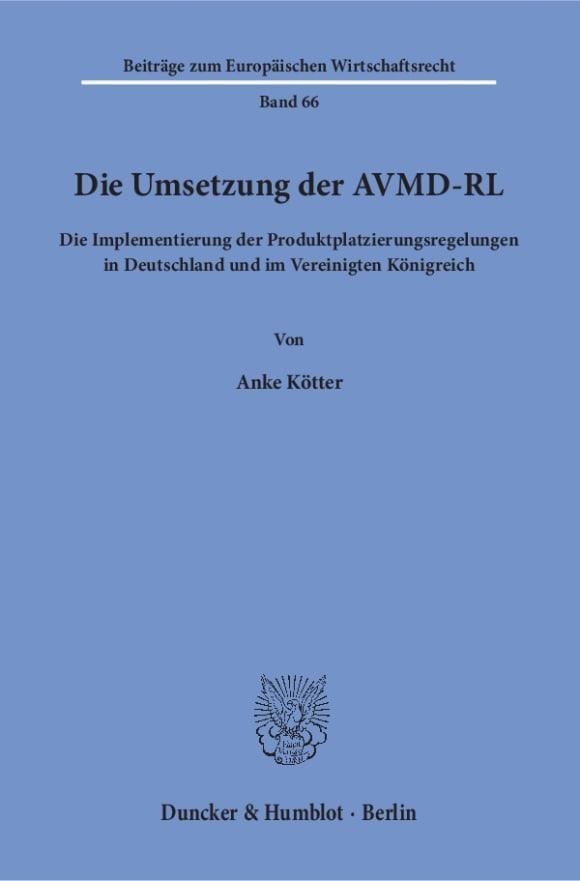 Cover Die Umsetzung der AVMD-RL