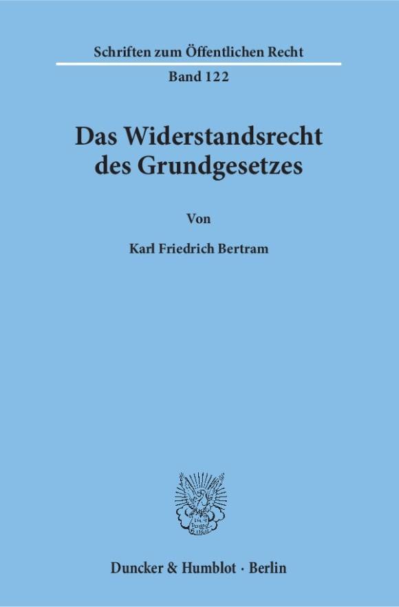 Cover Das Widerstandsrecht des Grundgesetzes