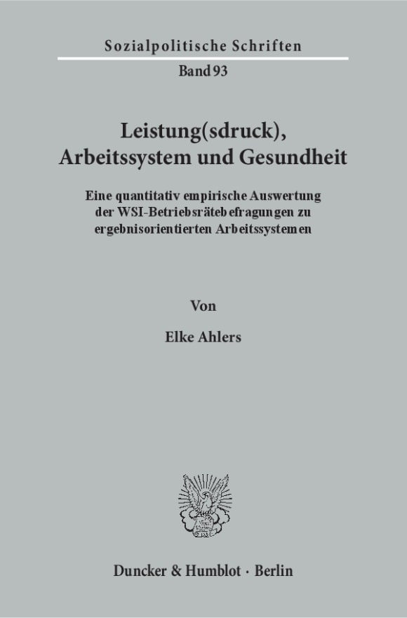 Cover Leistung(sdruck), Arbeitssystem und Gesundheit