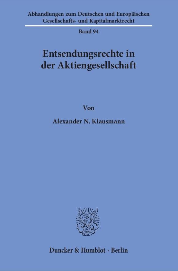Cover Entsendungsrechte in der Aktiengesellschaft