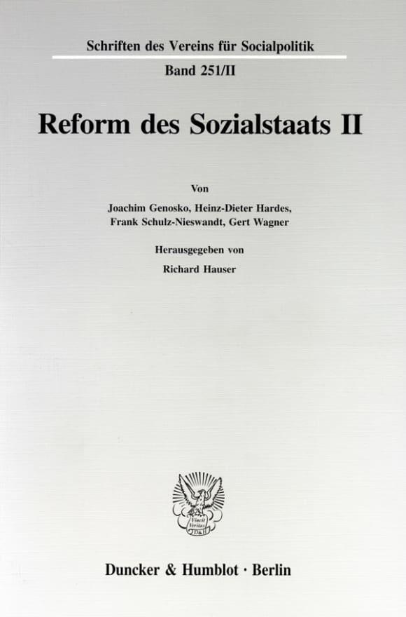 Cover Reform des Sozialstaats II