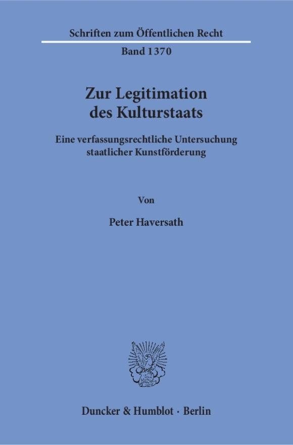Cover Zur Legitimation des Kulturstaats