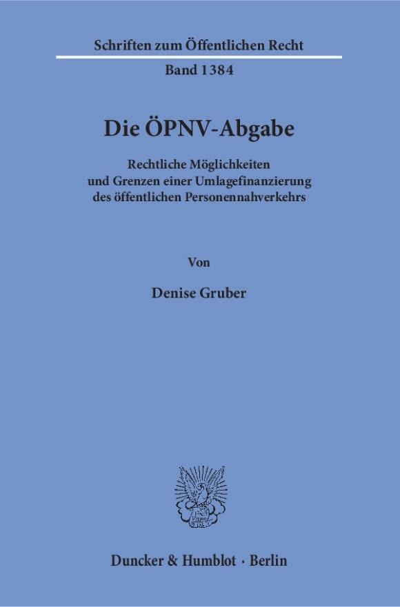 Cover Die ÖPNV-Abgabe