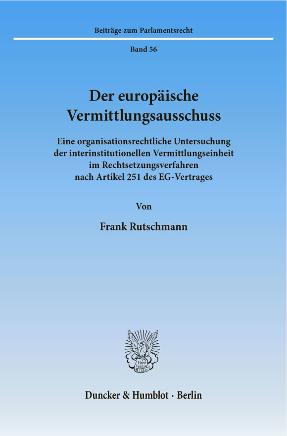 Cover Der europäische Vermittlungsausschuss