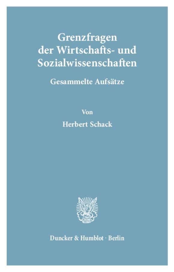Cover Grenzfragen der Wirtschafts- und Sozialwissenschaften