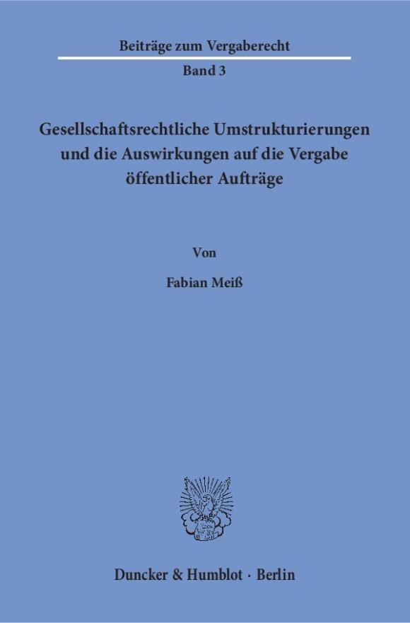 Cover Beiträge zum Vergaberecht (BZV)