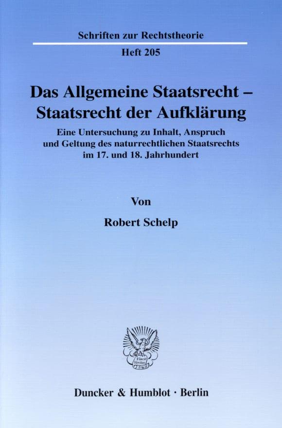 Cover Das Allgemeine Staatsrecht - Staatsrecht der Aufklärung
