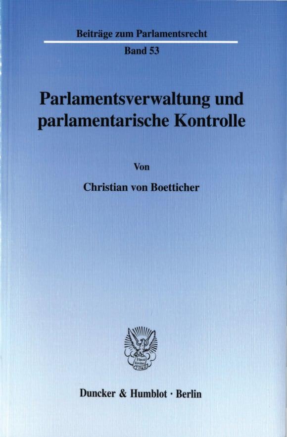 Cover Parlamentsverwaltung und parlamentarische Kontrolle