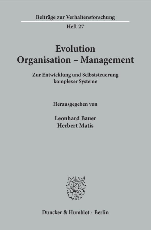 Cover Evolution - Organisation - Management