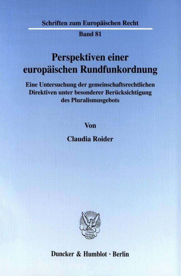 Cover Perspektiven einer europäischen Rundfunkordnung