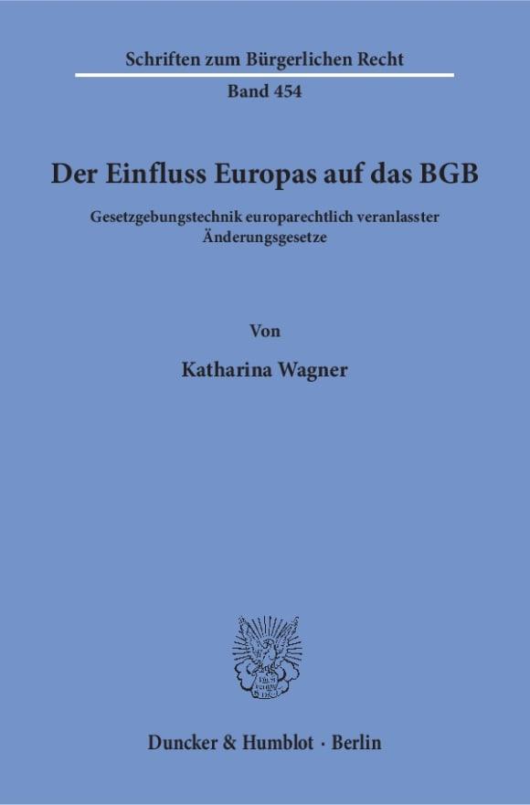 Cover Der Einfluss Europas auf das BGB