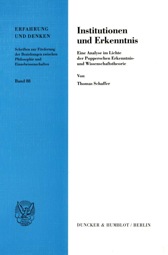 Cover Institutionen und Erkenntnis