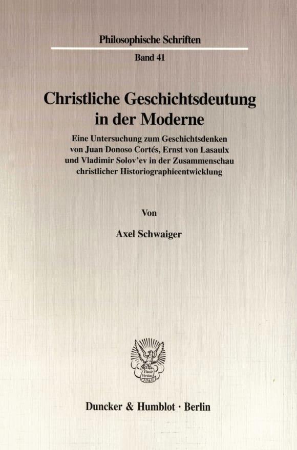 Cover Christliche Geschichtsdeutung in der Moderne
