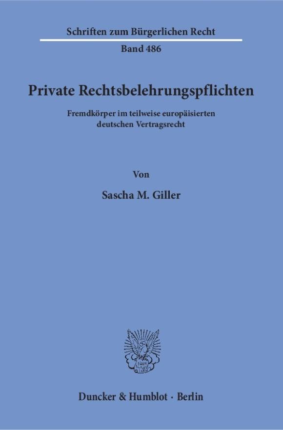 Cover Private Rechtsbelehrungspflichten